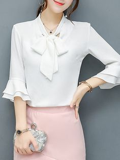Buy Tie Collar Bowknot Plain Bell Sleeve Blouse online with cheap prices and discover… - Cheap Maxi Dresses, Simple Dresses, Blouse And Skirt, Blouse Dress, Blouse Styles, Blouse Designs, Bell Sleeve Blouse, Bell Sleeves, Beautiful Blouses