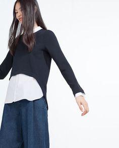 Image 2 of CONTRAST POPLIN TOP from Zara