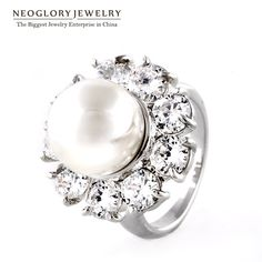 Neoglory Zircon Simulated Pearl Romantic Charm Rings for Women Light Yellow Gold Color Fashion Brand Jewelry 2017 New  pea-1