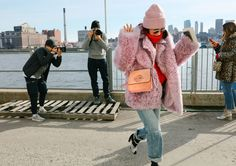 Eva Chen in a Sies Marjan coat, Monse turtleneck, Citizens of Humanity jeans, and Miu Miu shoes with a JW Anderson bag