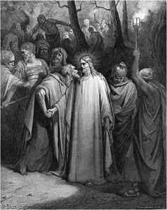 """THE BETRAYAL Immediately, while he was still speaking, Judas, one of the twelve, came—and with him a multitude with swords and clubs, from the chief priests, the scribes, and the elders. 44 Now he who betrayed him had given them a sign, saying, """"Whomever I will kiss, that is he. Seize him, and lead him away safely."""" When he had come, immediately he came to him, and said, """"Rabbi! Rabbi!"""" and kissed him. MARK 14:43-46"""