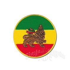 Rasta Lion Round Patch with Rasta Flag