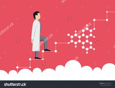 The doctor in a white dress up the career ladder, scientist, science. Vector illustration.