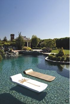 Swimming pool | natural black bottom. I love this back yard poolscape.