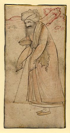 Painting of an old pilgrim by an anonymous artist, Isfahan, Iran, late 1500s to early 1600s, 9.9 x 4.9 cm, © The Trustees of the British Museum