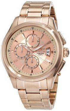 Invicta Men's 1485 Specialty Collection Chronograph Rose Dial 18k Rose Gold Ion-Plated Stainless Steel Watch Invicta. $101.56. Water-resistant to 100 M (330 feet). Flame-fusion crystal; Brushed and polished 18k rose gold ion-plated stainless steel case and bracelet. Chronograph functions with 60 second, 60 minute and 1/10 of a second subdials; Date function. Rose dial with rose gold tone hands and hour markers; Luminous; Stop watch function. Japanese Quartz movement