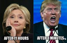 """auntie-christ-ine: """"  #HillaryClinton vs #DonaldTrump: In the long run, high stamina definitely """"trumps"""" high energy … if you can even call it energy.  """""""
