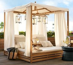 Madera Teak Daybed Double Chaise Lounge with Canopy Madera Daybed Cushion mit Schonbezug, Sunbrella Cobalt Outdoor Furniture, Teak Outdoor, Double Chaise Lounge, Home, Daybed, Daybed Cushion, House, Outdoor Daybed, Patio Furniture