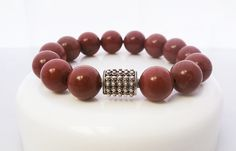 Red Jasper and Sterling Silver Granulation Bead by KartiniStudio