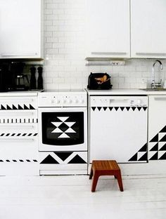 use stickers and tape to create bold geometric shapes.