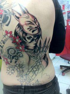 anime ninja geisha tattoo1