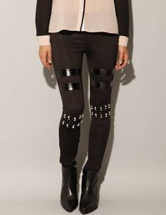 Megan Savitt: Leather and spike leggings [Rebh3944] - $44 : Pixie Market, Fashion-Super-Market #Lockerz