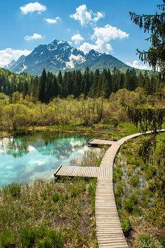 Spring of Sava Dolinka River, Kranjska Gora, Slovenia.