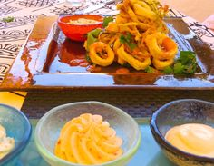 Calamari at The Melenos, Lindos from the VLK bog Kalliopi Kitchen http://www.rhodesluxuryvilla.com/kalliopi-kitchen-6-lindos-life/