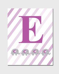 Baby Nursery Art - Purple Letter E for Elephant Nursery Print, Kids Wall Art, Baby Nursery Decor Playroom - One 8x10 Download  Designed by Johanna Henderson at  { Pick Your Printables }