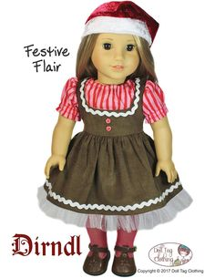 Sew a Gingerbread Girl with some flair! I used the Dirndl pattern by Doll Tag Clothing. I made a free tutorial on how I did it!