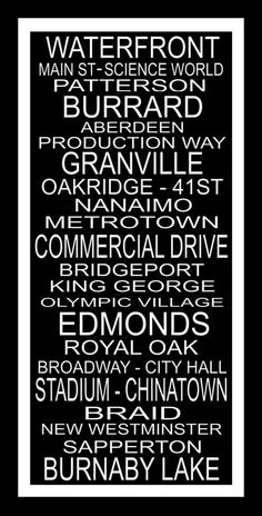 Subway Sign Art Vancouver Typography Print 10x20 by PaperBleu, $23.00