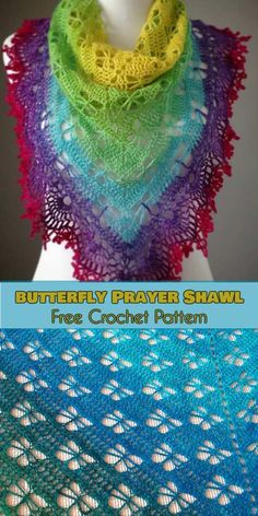 Butterfly Prayer Shawl [Free Crochet Pattern] Today we have for you special stuff - Shawl to crochet with butterfly pattern. Attached propose with rainbow colours is only one of many. Prayer Shawl Crochet Pattern, Prayer Shawl Patterns, Poncho Au Crochet, Crochet Prayer Shawls, One Skein Crochet, Crochet Shawls And Wraps, Crochet Motifs, Crochet Scarves, Crochet Patterns