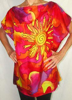 silk top Sun Goddesssilk blouse resort wear by HeavenOnEarthSilks