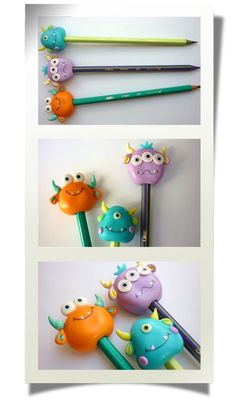 so cute - you can make barrettes too :) Polymer Clay Pens, Polymer Clay Projects, Polymer Clay Creations, Hobbies And Crafts, Diy And Crafts, Crafts For Kids, Clay Monsters, Pencil Toppers, Clay Charms