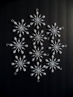 10 Vintage White Glitter Snowflakes Christmas by SPARKLESandSASS