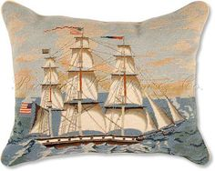 America Tall Ship Mixed Stitch Needlepoint Pillow - Nautical Pillows at…