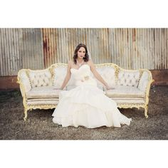 Vintage Sofa Bridal Portrait