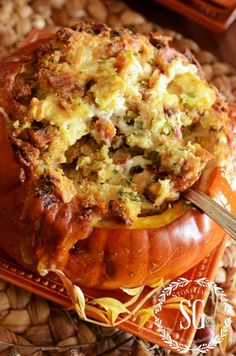 Thanksgiving Stuffing in a Pumpkin with GRUYERE, BACON AND GREEN ONION ROASTED STUFFED PUMPKIN using baguette.