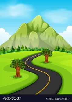 A road going to the mountain vector image on VectorStock Kids Background, Black Background Images, Cartoon Background, Animal Pictures For Kids, Clip Art Pictures, Drawing Scenery, Nature Drawing, Art Drawings For Kids, Drawing For Kids
