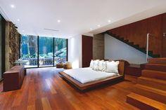 quarto de vidro e madeira