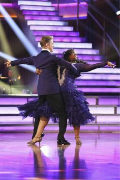 """Week 5  Amber Riley and Derek Hough dance Foxtrot to """"Try a Little Tenderness"""" by Otis Redding Judges' Scores: 9+7+10 = 26"""