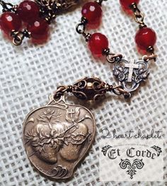 2 Heart Chaplet, Tenner, Bright Bronze Sacred & Immaculate Heart, Wire-wrapped, Genuine Faceted Carnelian gemstone and Gold Topaz Rosary Prayer, Holy Rosary, Prayer Beads, Heart Of Jesus, Bronze, Hail Mary, Two Hearts, Bright, Sacred Heart