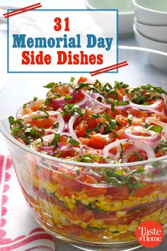 From salads to fresh dips, these delicious Memorial Day BBQ sides are all perfect for cookouts. Picnic Side Dishes, Vegetable Side Dishes, Party Side Dishes, Barbecue Side Dishes, Summer Recipes, Holiday Recipes, Holiday Foods, Salads For Picnics, Antipasto Pasta Salads