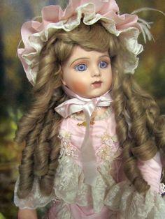 "Antique Repro BRU JNE 28"" DOLL Porcelain BISQUE cloth body Patricia Loveless LED"