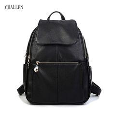 CHALLEN PU Backpacks For Men Unisex Casual Fashion Bag Women Bag College Bags School Backpack Women Makeup Bag