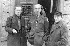 The photographer Marian Gid (left) and George Biddle, the American painter and correspondent for Time-Life on the Nuremberg Trials, during a visit with George Kadish (right), a photographer who survived the Kovno Ghetto and made clandestine photos there, at the opening of the exhibition of his ghetto photographs.