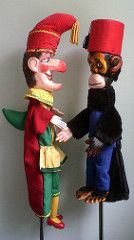 Mr Punch and the Monkey by Bryan Clarke (Punch and Judy Puppet Collection) Tags: show monkey carved chimp puppet bryan figure chimpanzee judy punch clarke handcarved