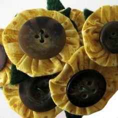Mini Sunflower Fabric Yoyo Button Flower Bouquet. Fun with fabric yo yos: inspiration, patterns, projects and tutorials