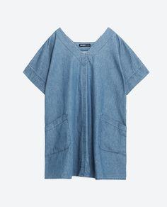 Image 8 of OVERSIZED DENIM DRESS from Zara