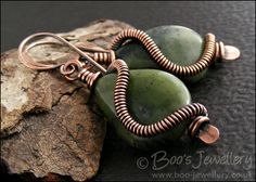Antiqued copper and Chinese green jade teardrop earrings