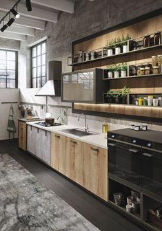 Bring Some Brick & Steel To Your Living Space 10 Creative Industrial Kitchen Decor Ideas For Your Urban Entertainment Spaces industrial and rustic loft kitchen by snaidero 4 Kitchen Interior, Rustic Loft, Industrial Decor Kitchen, Kitchen Remodel, Contemporary Kitchen, Loft Design, Loft Kitchen, Rustic Kitchen, Kitchen Design