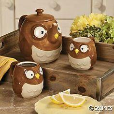 Oriental Trading owl warm beverage set