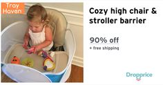 """Help me drop the price of the Tray Haven High Chair Barrier to $3.99 (90% off). The price continues dropping as more moms click """"Drop the price"""". Moms drop prices of kids & baby products by sharing them with each other."""