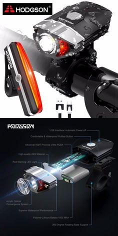 [Visit to Buy] HODGSON USB Rechargeable LED Bike Light  Waterproof  Front Light  Tail Light Set  Bicycle Headlight Taillight Rear Lamp Set 8102 #Advertisement