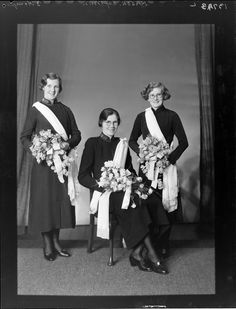 Photograph of group of women in Salvation Army uniforms with bouquets, taken 1938 by Crown Studios Ltd of Wellington. Guys And Dolls, Army Uniform, Costume Design, New Zealand, Clip Art, Costumes, Vintage, Women, Apparel Design