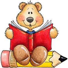 clipart decpoupage Teddy Bear Reading01