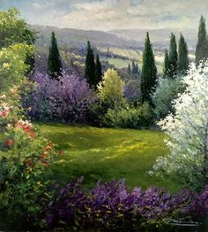 how to html color codes for text Beautiful Paintings, Beautiful Landscapes, Landscape Art, Landscape Paintings, Spring Painting, Painting Inspiration, Art Pictures, Garden Art, Amazing Art