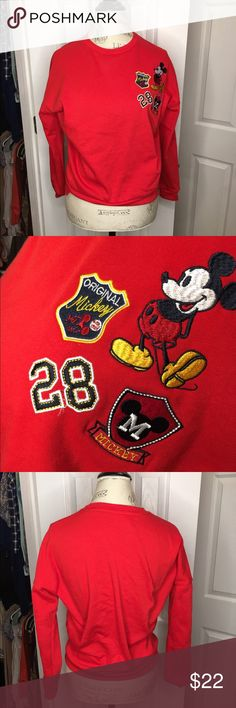 Red Mickey Mouse Sweater Vintage looking red Mickey Mouse sweater with patches. Looks great with black high waisted jeans. Worn once! Disney Sweaters