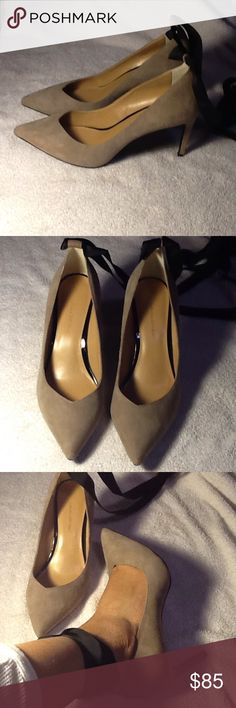 Banana Republic ankle strap tan suede pumps New worn inside for fashion only...in excellent condition..nude color..real suede...black ribbon ankle strap pumps..size 8.5 ..with non slip sole..super comfy!!! Banana Republic Shoes Heels