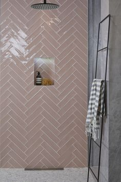 Ca' Pietra Carter Pink Blush Tiles. Laid in a herringbone pattern. Ca' Pietra Carter Pink Blush Tiles. Laid in a herringbone pattern. Pink Bathroom Tiles, Pink Tiles, Bathroom Tile Designs, Ensuite Bathrooms, Downstairs Bathroom, Modern Bathroom Design, Bathroom Interior Design, Bathroom Renovations, Small Bathroom